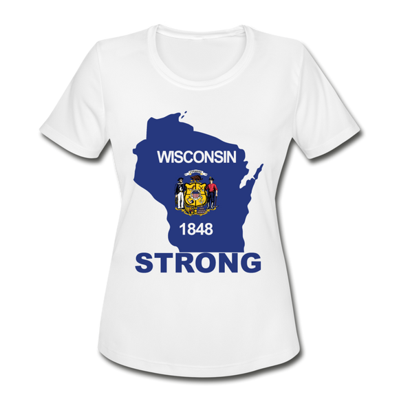 Wisconsin Strong - Women's Moisture Wicking Performance T-Shirt - white
