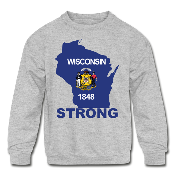 Wisconsin Strong - Kids' Crewneck Sweatshirt - heather gray