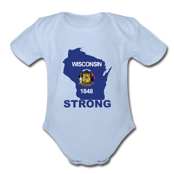 Wisconsin Strong - Organic Short Sleeve Baby Bodysuit - sky