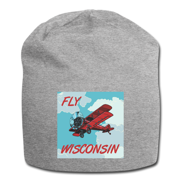 Fly Wisconsin Biplane - Jersey Beanie - heather gray