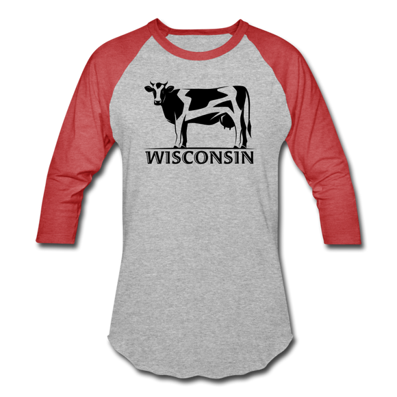 Wisconsin Cow - Baseball T-Shirt - heather gray/red