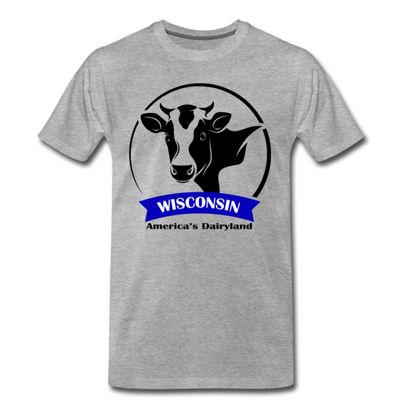 Wisconsin Cow Emblem - Men's Premium T-Shirt - heather gray