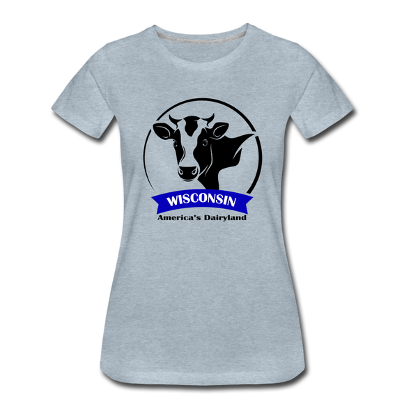 Wisconsin Cow Emblem - Women's Premium T-Shirt - heather ice blue