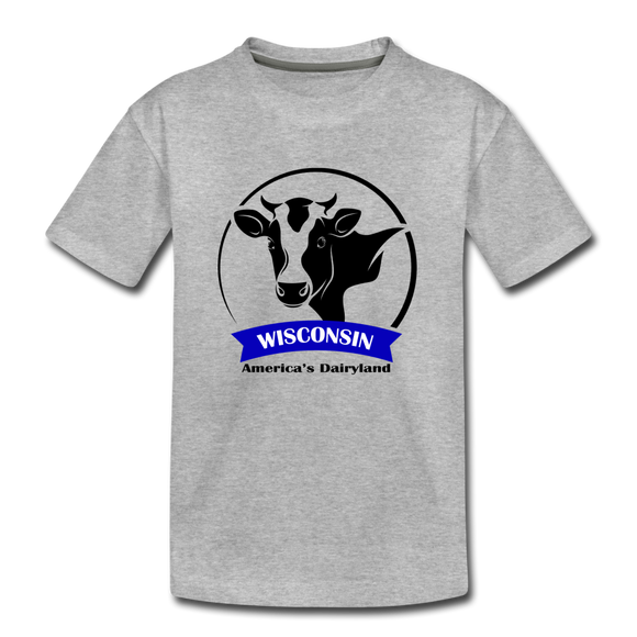 Wisconsin Cow Emblem - Kids' Premium T-Shirt - heather gray