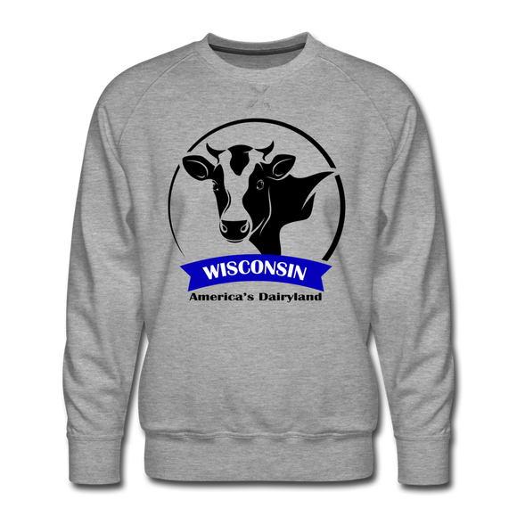 Wisconsin Cow Emblem - Men's Premium Sweatshirt - heather gray