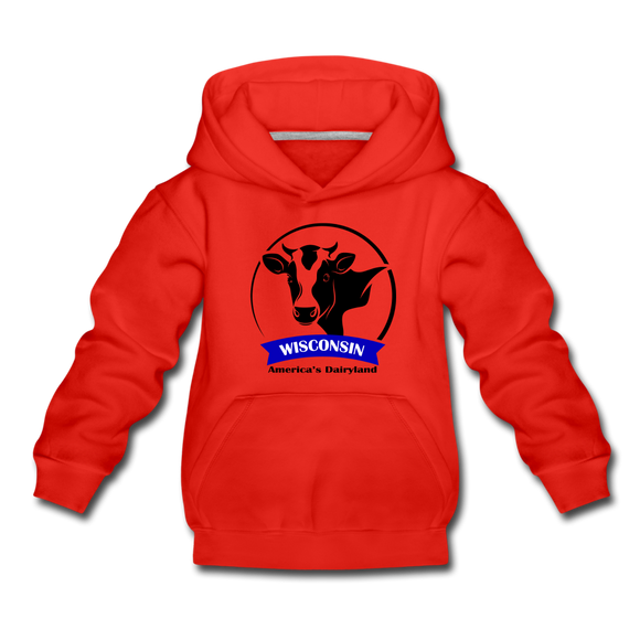 Wisconsin Cow Emblem - Kids' Premium Hoodie - red