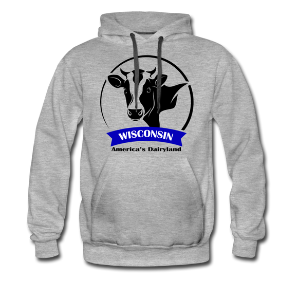 Wisconsin Cow Emblem - Men's Premium Hoodie - heather gray