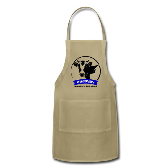 Wisconsin Cow Emblem - Adjustable Apron - khaki