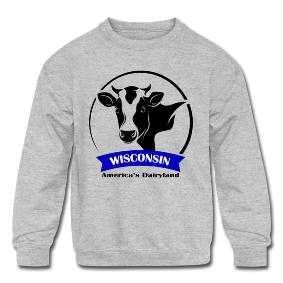 Wisconsin Cow Emblem - Kids' Crewneck Sweatshirt - heather gray