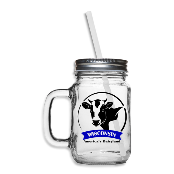 Wisconsin Cow Emblem - Mason Jar - clear
