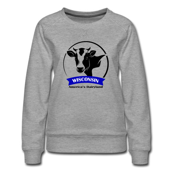 Wisconsin Cow Emblem - Women's Premium Sweatshirt - heather gray
