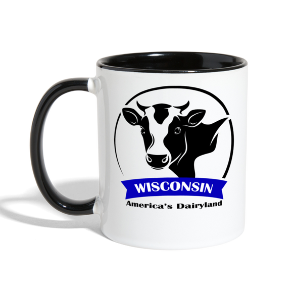 Wisconsin Cow Emblem - Contrast Coffee Mug - white/black