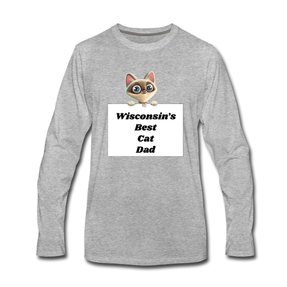 Best Cat Dad - Men's Premium Long Sleeve T-Shirt - heather gray