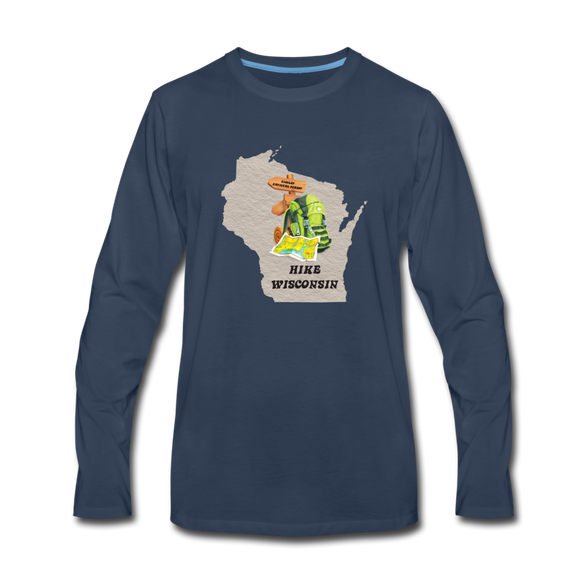 Hike Wisconsin - Men's Premium Long Sleeve T-Shirt - navy