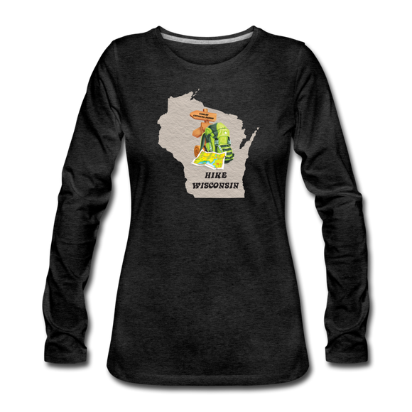Hike Wisconsin - Women's Premium Slim Fit Long Sleeve T-Shirt - charcoal gray