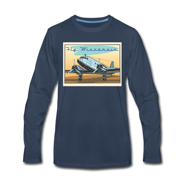 Fly Wisconsin - Men's Premium Long Sleeve T-Shirt - navy