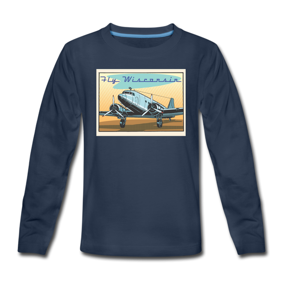 Fly Wisconsin - Kids' Premium Long Sleeve T-Shirt - navy