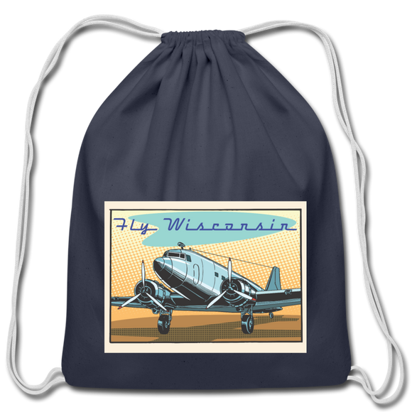 Fly Wisconsin - Cotton Drawstring Bag - navy
