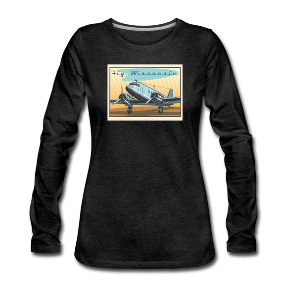 Fly Wisconsin - Women's Premium Slim Fit Long Sleeve T-Shirt - charcoal gray