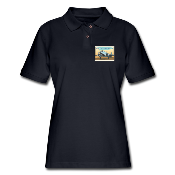 Fly Wisconsin - Women's Pique Polo Shirt - midnight navy