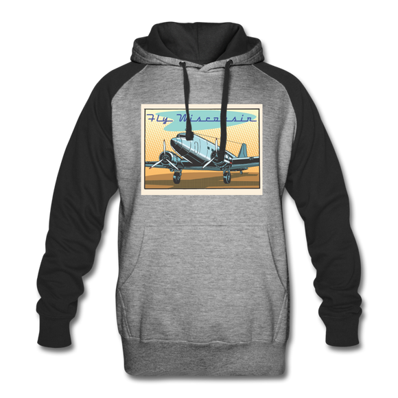 Fly Wisconsin - Colorblock Hoodie - heather gray/black