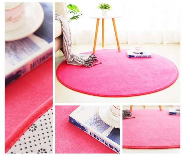 Grand Tapis Rond Rose