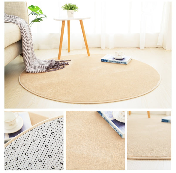 Grand Tapis Rond Beige