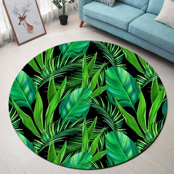 Tapis Rond Feuilles Vertes Tropicales