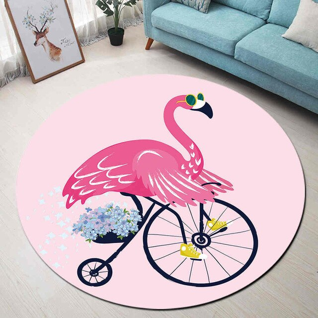 Tapis Rond Flamant Rose