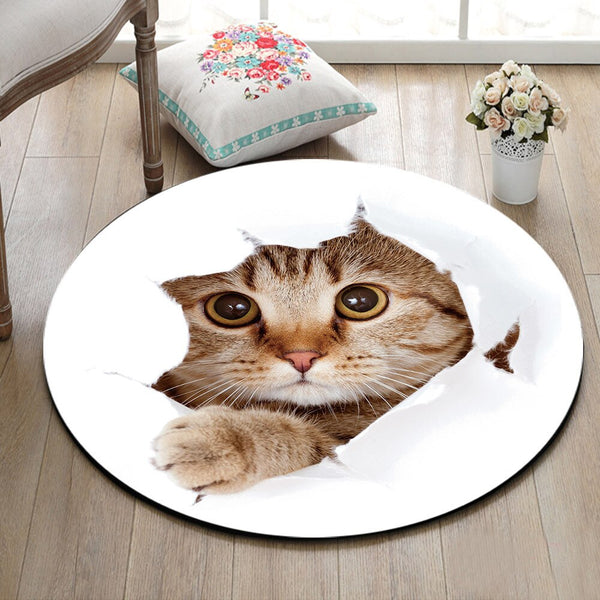 Tapis Rond Chat Mignon