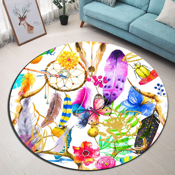 Tapis Rond Attrape Rêves Multicolore
