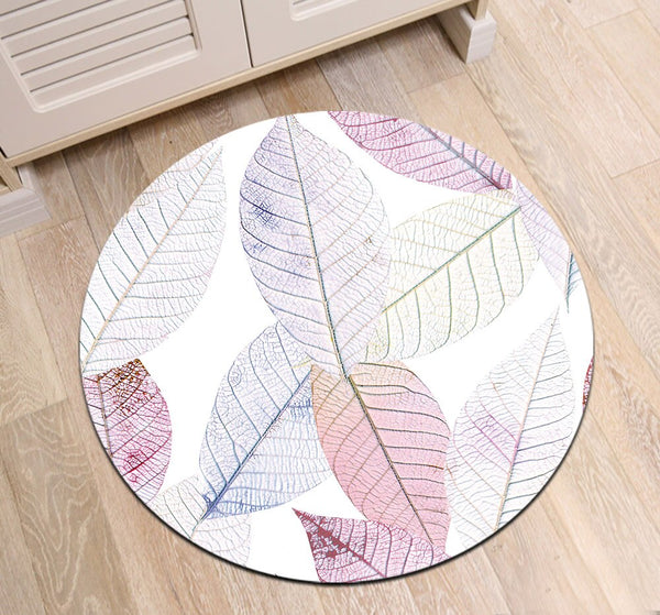 Tapis Rond Feuille Blanche