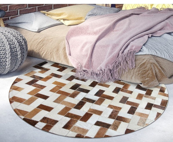 Tapis Rond Patchwork Cuir