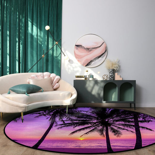 Tapis Rond Couleur Framboise