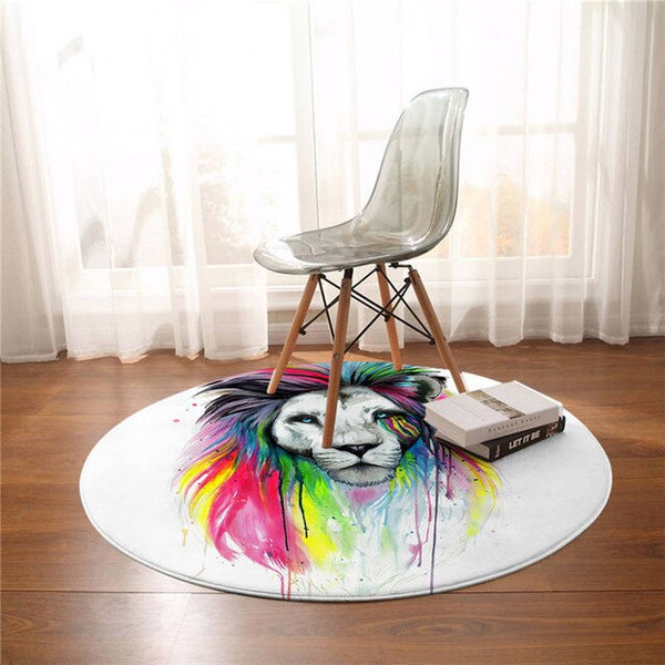 Tapis Rond Hippy Lion