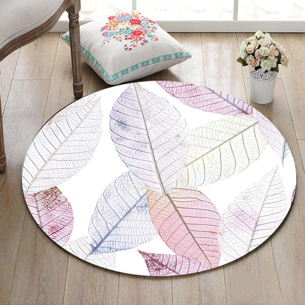 Tapis Rond Feuille Blanche | Mon Tapis Rond