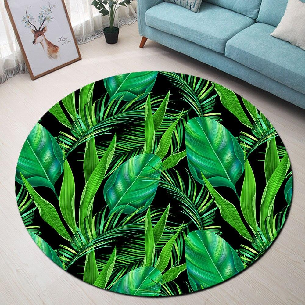Tapis Rond Feuilles Vertes Tropicales | Mon Tapis Rond