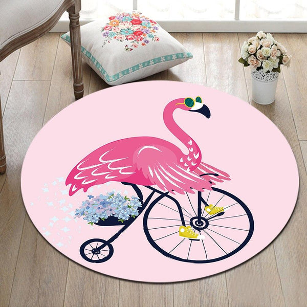 Tapis Rond Flamant Rose | Mon Tapis Rond