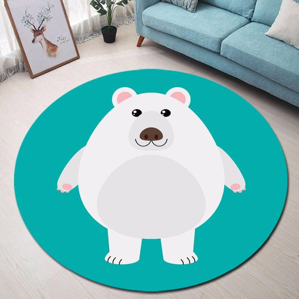 Tapis Rond Ours Polaire | Mon Tapis Rond