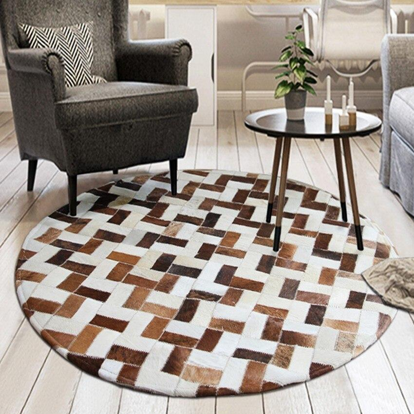 Tapis Rond Patchwork Cuir | Mon Tapis Rond