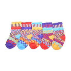 Multi Coloured 5 Baby Socks Recycled Cotton - yellow/purple/red/blue