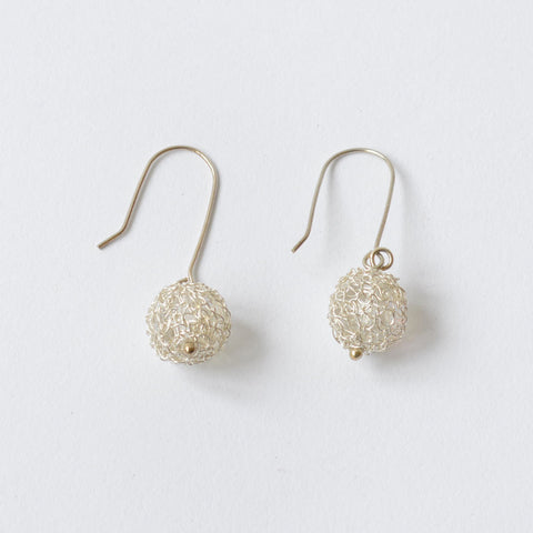 Crochet Silver & Crystal Ball Drop Earrings