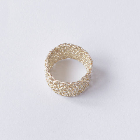 Crochet Silver Wide Band Ring