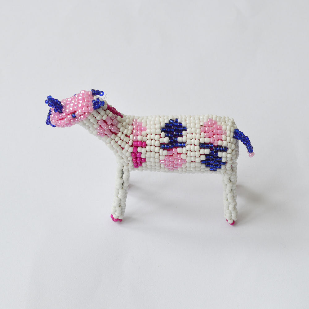 Handcrafted Beaded Animal - white/blue/pink