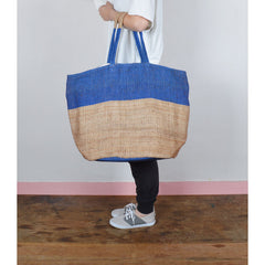 Handwoven Jute Bucket Tote Bag Colour Block Blue Large