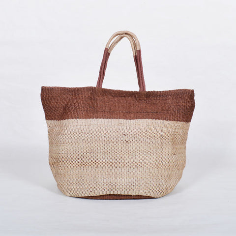 Handwoven Jute Bucket Tote Bag Colour Block Brown Large