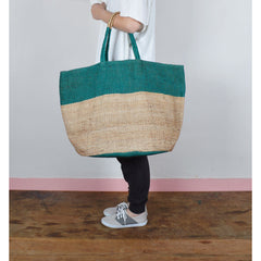 Handwoven Jute Bucket Tote Bag Colour Block Green Large