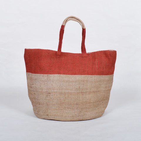 Handwoven Jute Bucket Tote Bag Colour Block Rusty Red Large