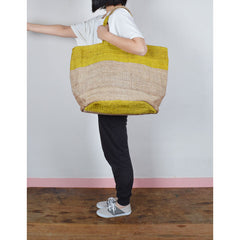 Handwoven Jute Bucket Tote Bag Colour Block Yellow Large