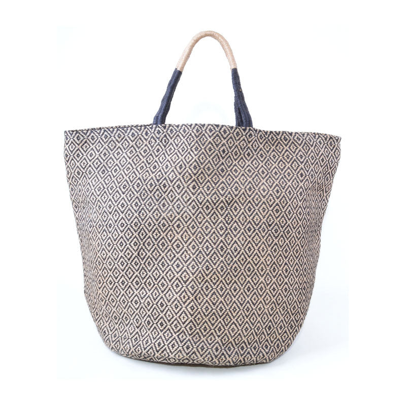 Handwoven Jute Bucket Tote Bag Diamond Pattern Black Large